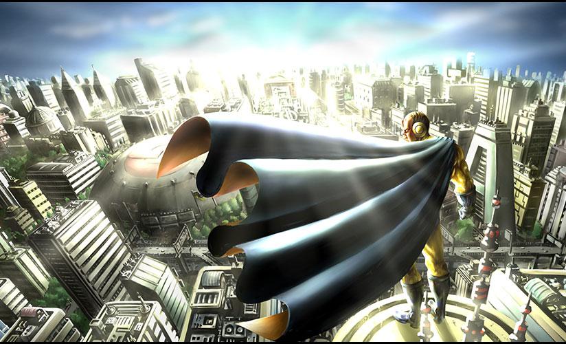 ビルの屋上から空を見下ろすHAGEリーマン