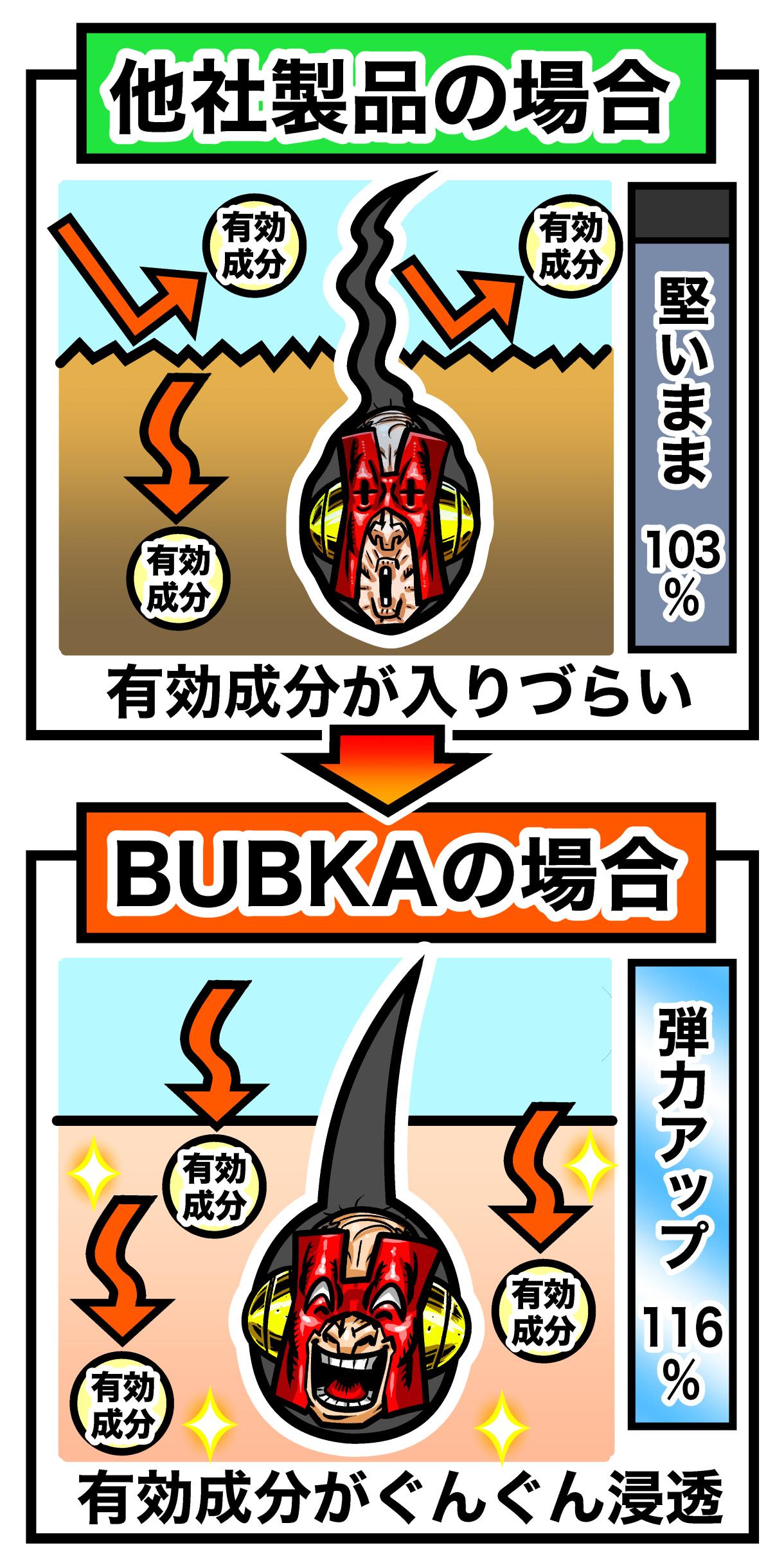 濃密育毛剤BUBKAの有効成分の浸透具合