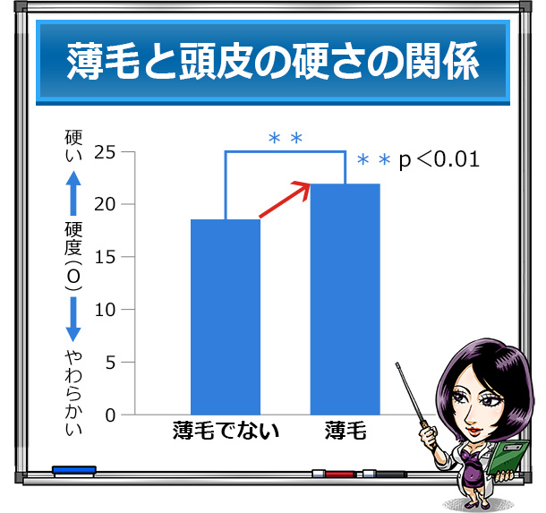 薄毛と頭皮の硬さの関係グラフ