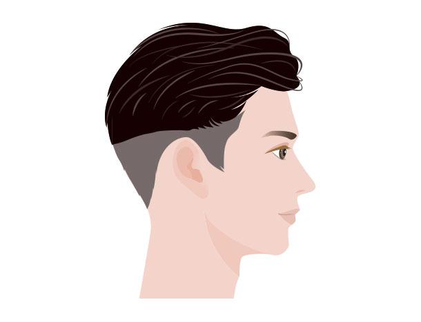 M字はげにおすすめの髪型 ツーブロック(横向き)