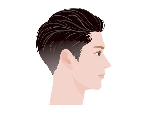 M字はげにおすすめの髪型 ツーブロック(上の部分の髪を立たせた)